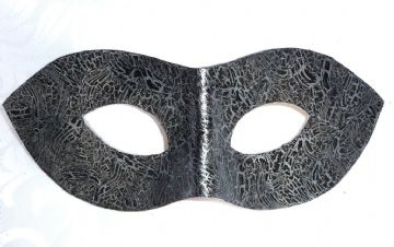 Exclusive Genuine Handmade Leather  Black & Silver Crackle Mask (1